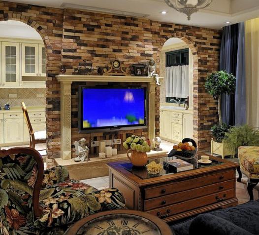 田园风格装修样板间文化石电视背景墙